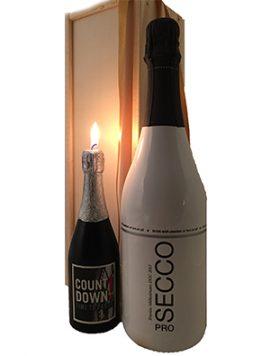 Black and Bianco prosecco docg wijngeschenk met kaars Wijnkooperij